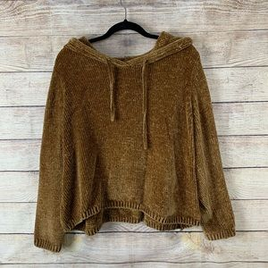 Gold/mustard colored Chenille Hooded Sweater